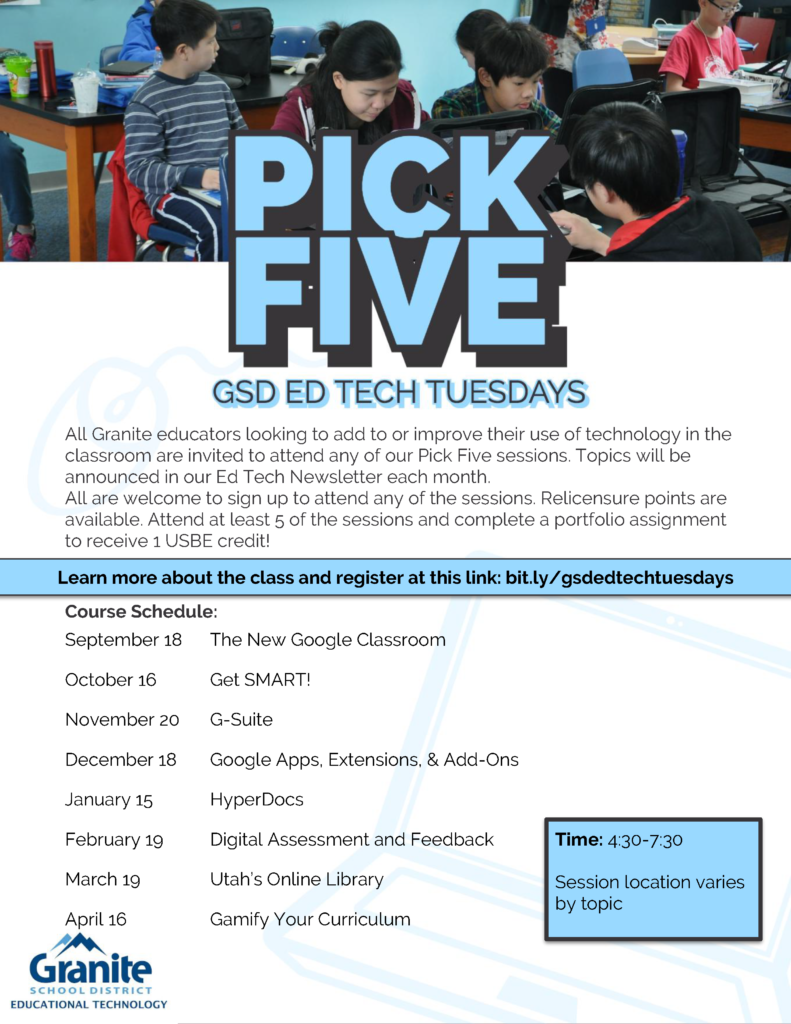Tech Tuesday Flyer 2018-2019 - Pick Five