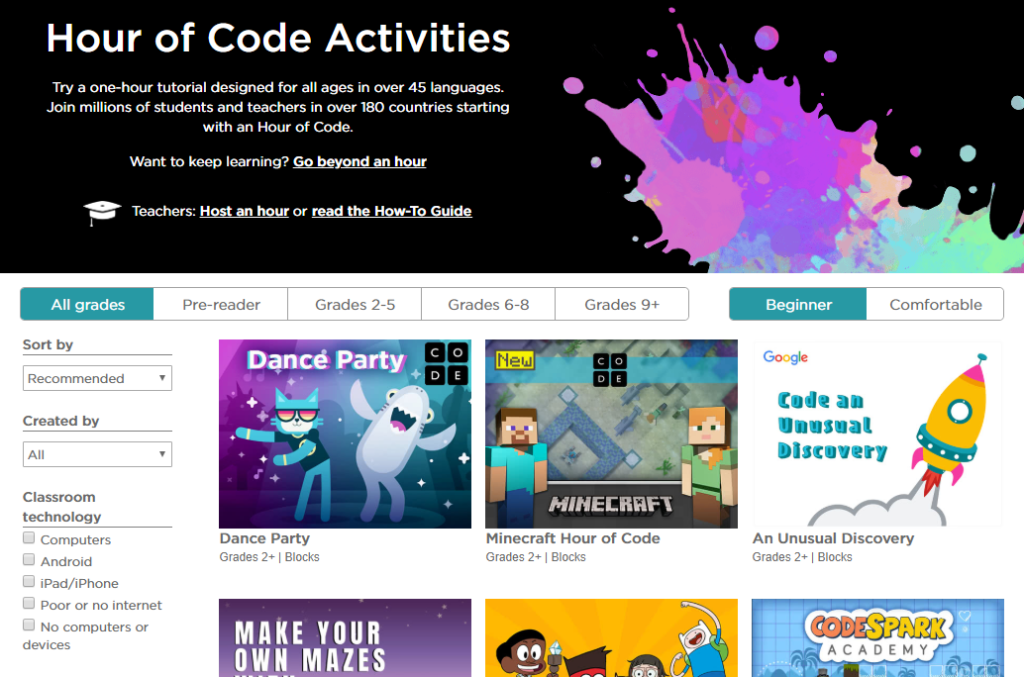 CSEdWeek Hour of Code Activities – Screenshot