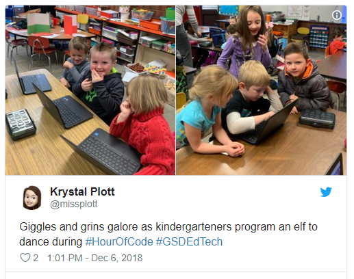 Krystal Plott – Hour of Code Tweet – Screenshot