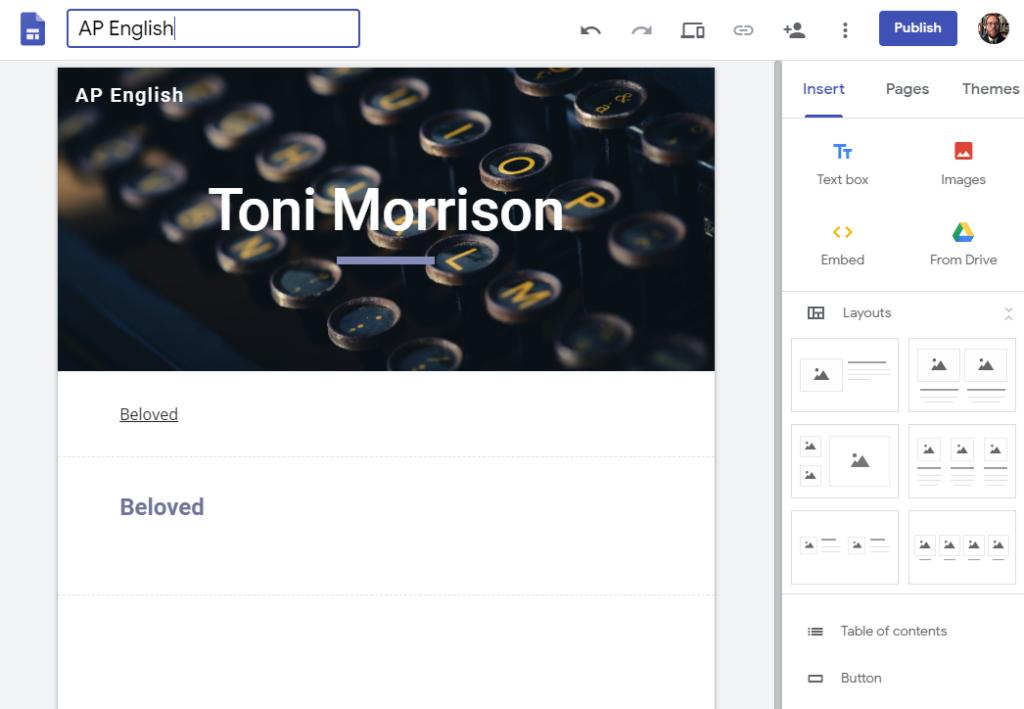 Creating in Google Sites – Screenshot