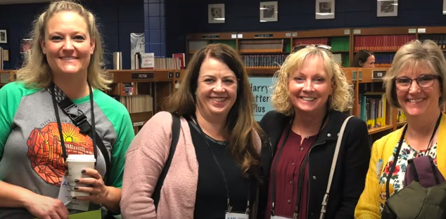 Granite librarians Amber Palmer, Heidi Williams, Cindy Moyle, and Michelle Asay visit a school library in Louisville in a video from Jefferson County Public Schools