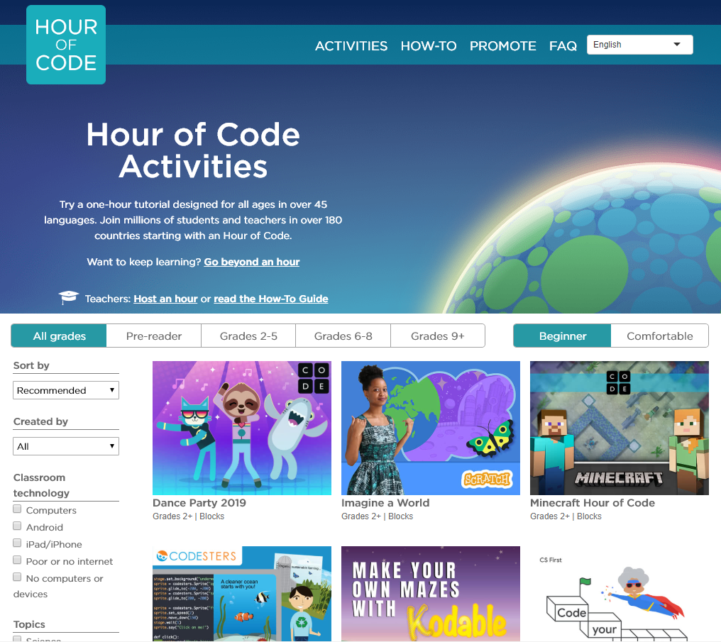 You can skip right to the collection of suggested activities by clicking on the image above, or visiting https://hourofcode.com/us/learn